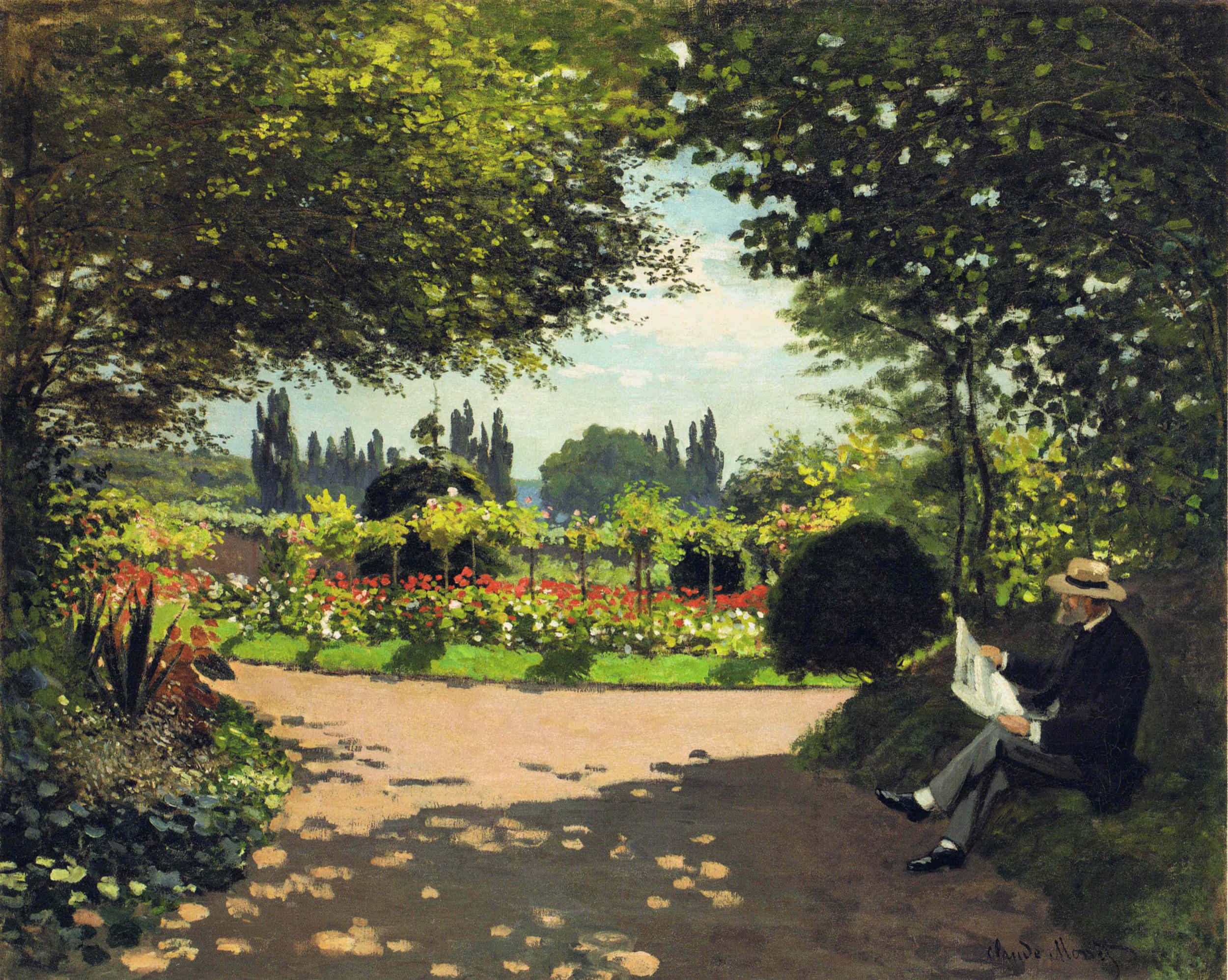 Adolphe Monet Reading in the Garden 1866