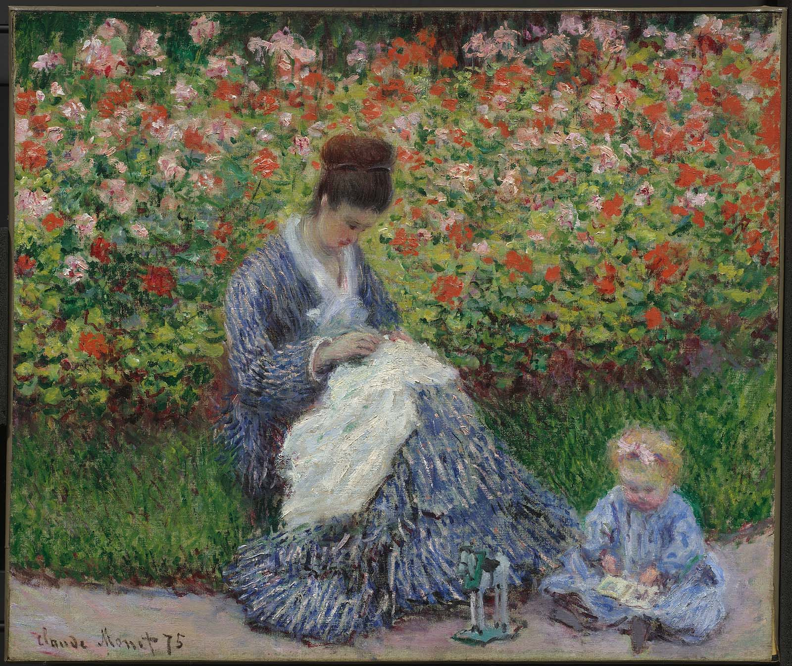 Camille Monet and a Child in the Artist's Garden in Argenteuil 1875