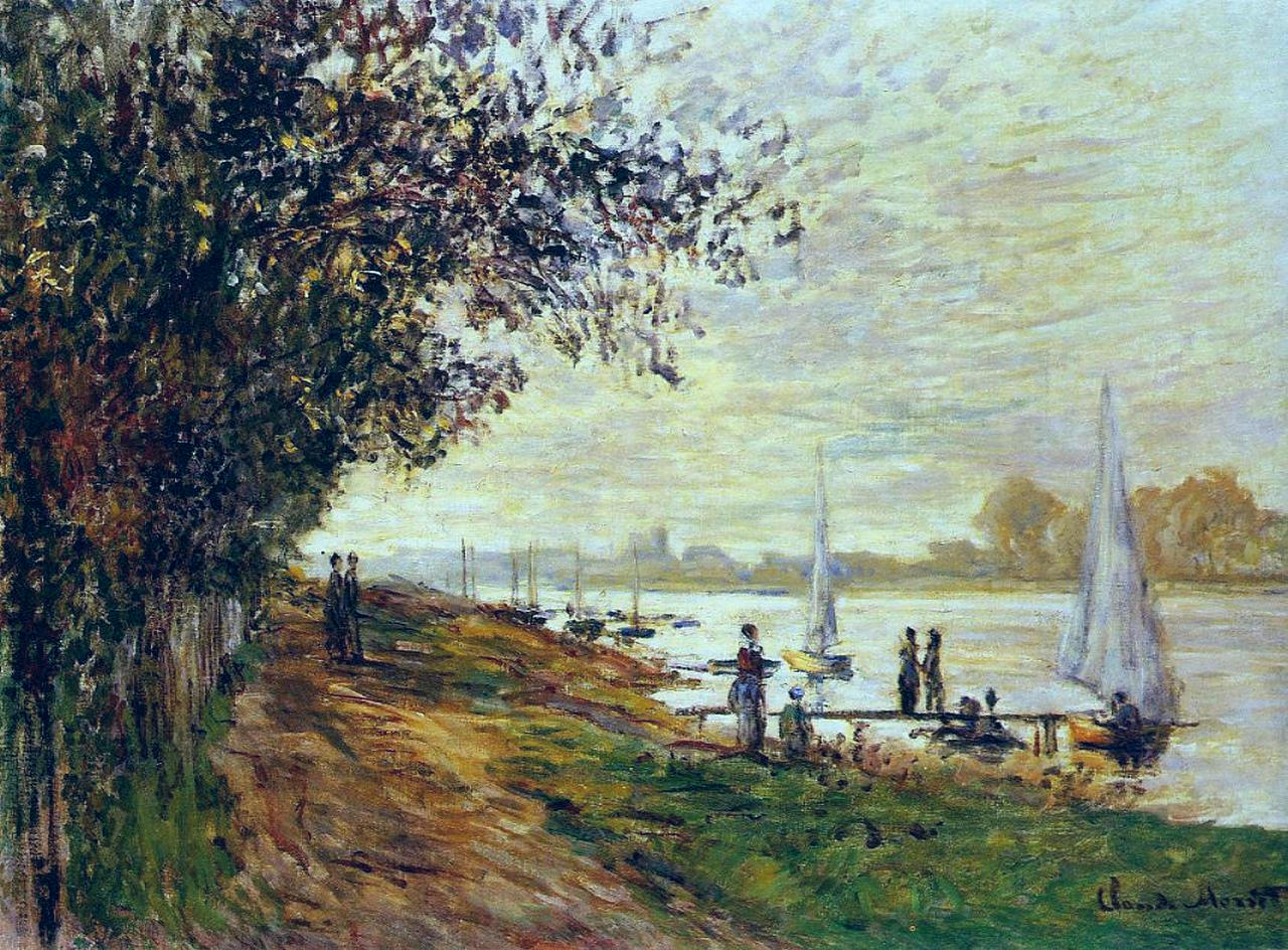 The Riverbank at Petit-Gennevilliers, Sunset 1875