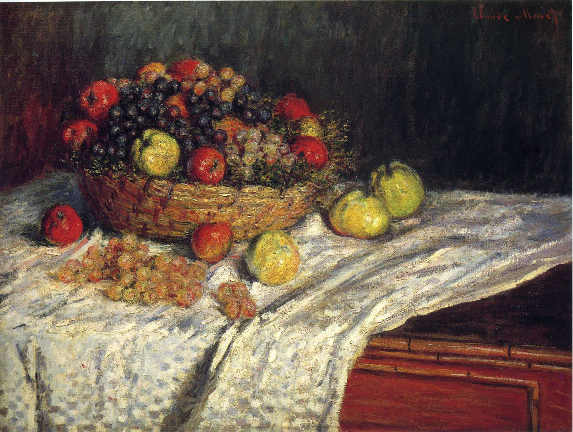 Fruit Basket with Apples and Grapes 1879