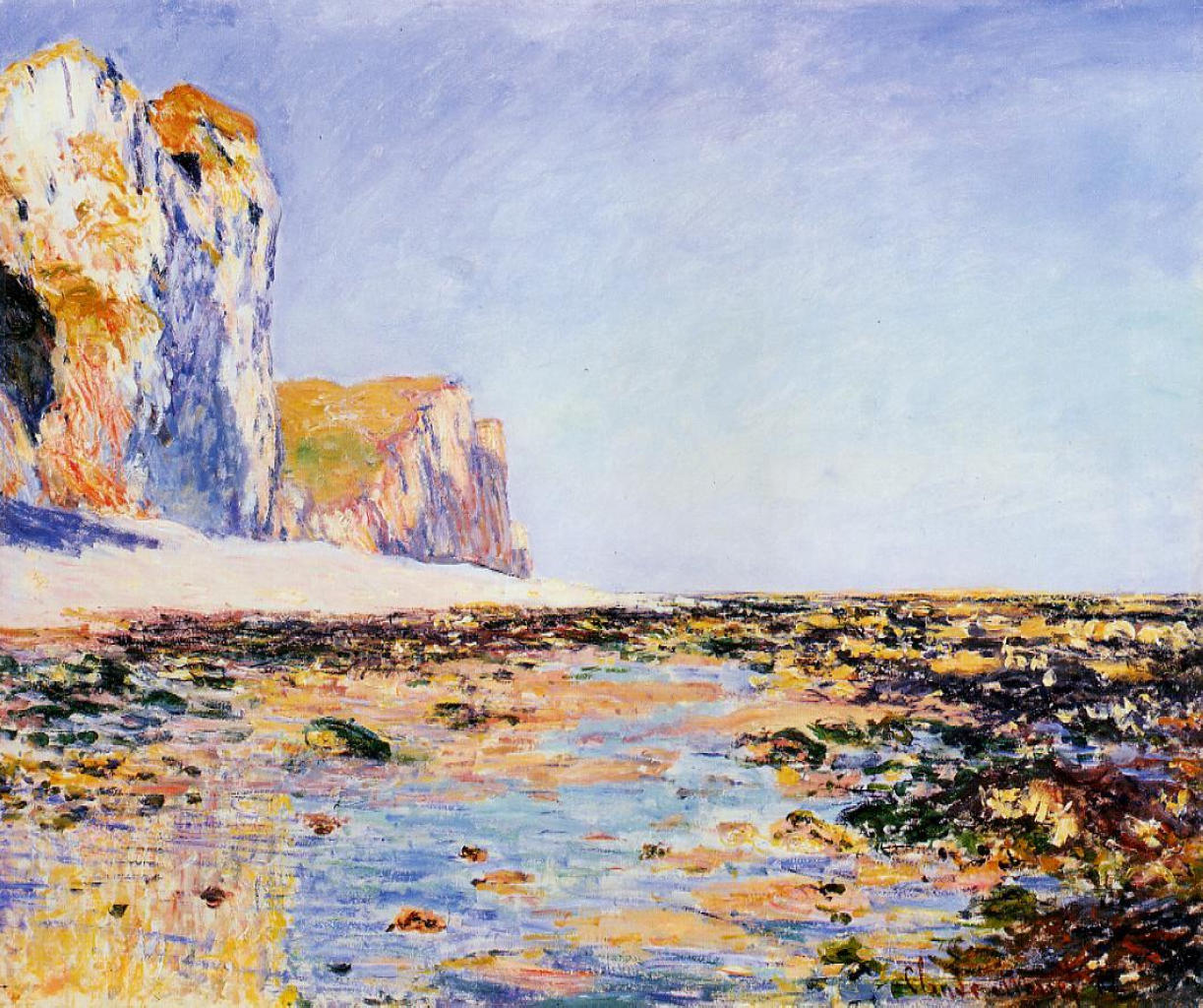 Beach and Cliffs at Pourville, Morning Effect 1882