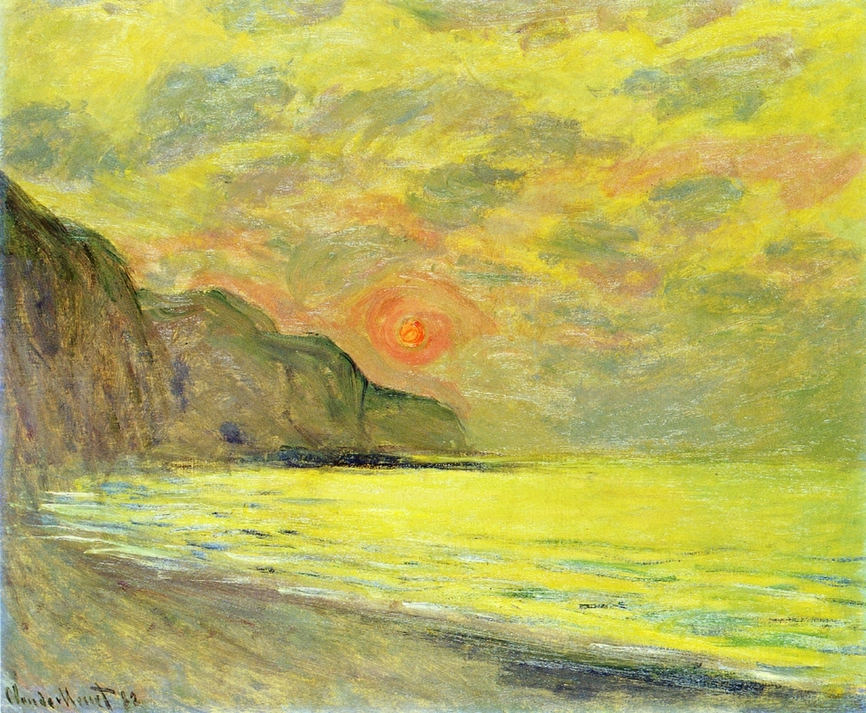 Sunset, Foggy Weather, Pourville 1882