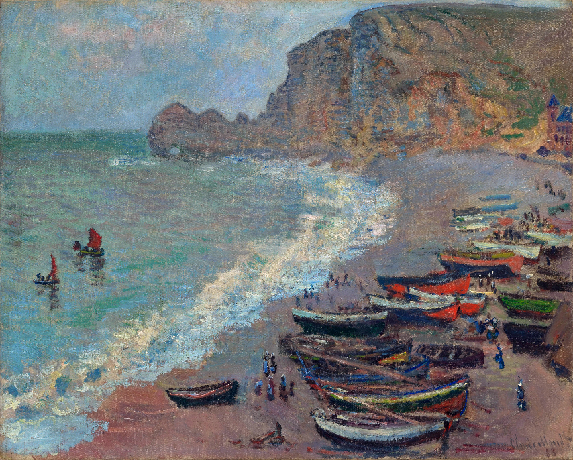 The Beach at Etretat 1883