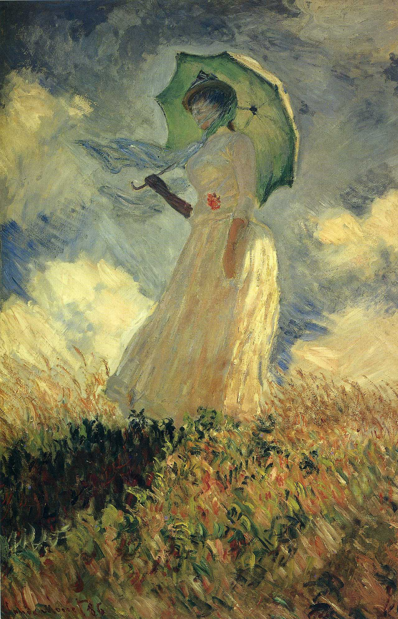 Woman with a Parasol or Study of a Figure Outdoors,Facing Left 1886