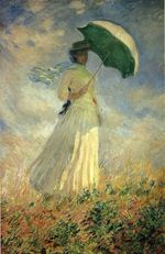 Woman with a Parasol, Facing Right or Study of a Figure Outdoors,Facing Right