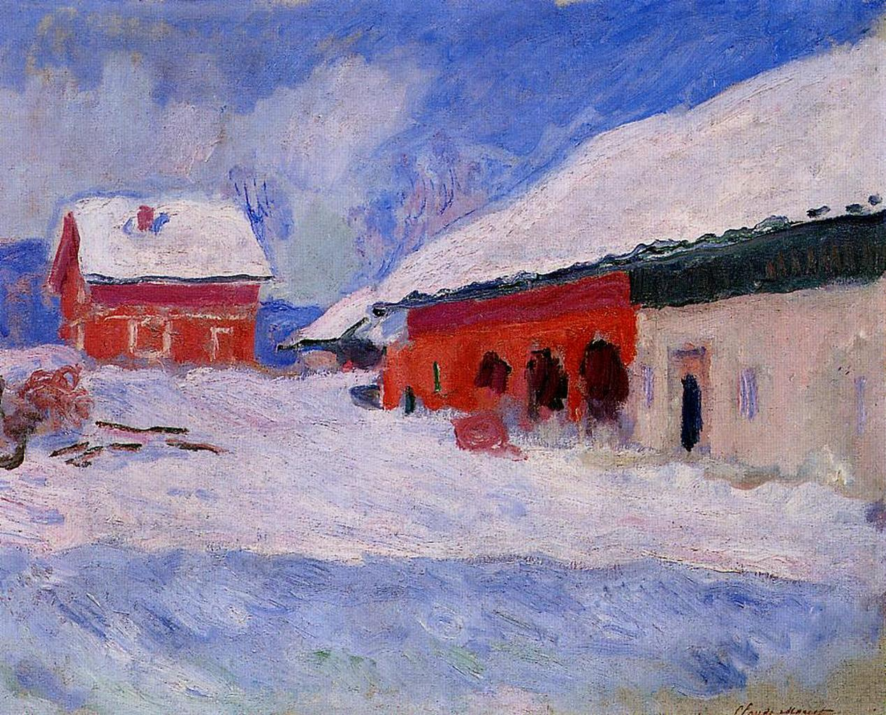 Red Houses at Bjornegaard in the Snow, Norway 1895
