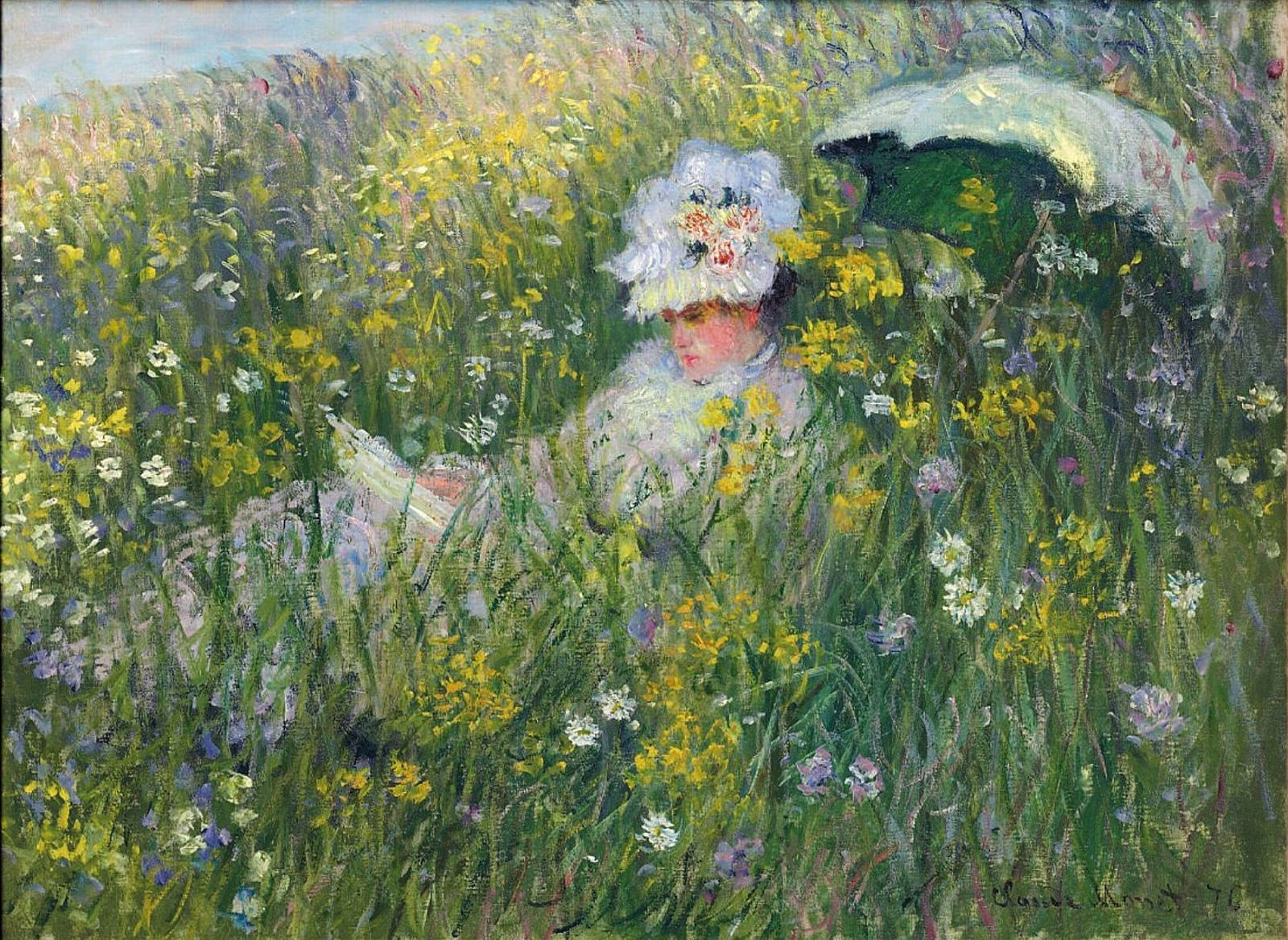 Claude Monet - In the Meadow 1876 in high definition on - art-monet.com