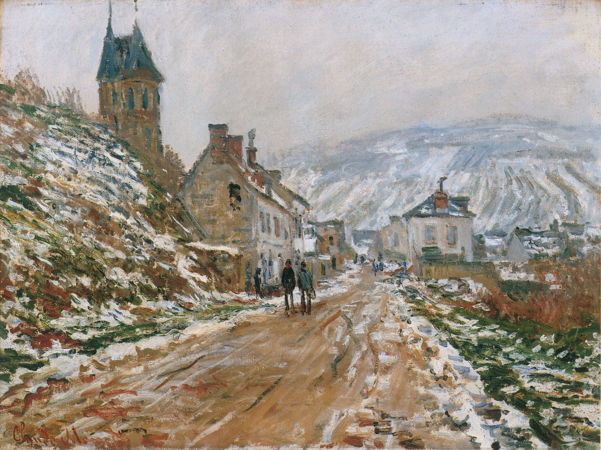 Monet - The Road in Vetheuil in Winter 1879 in high resolution on - art- monet.com