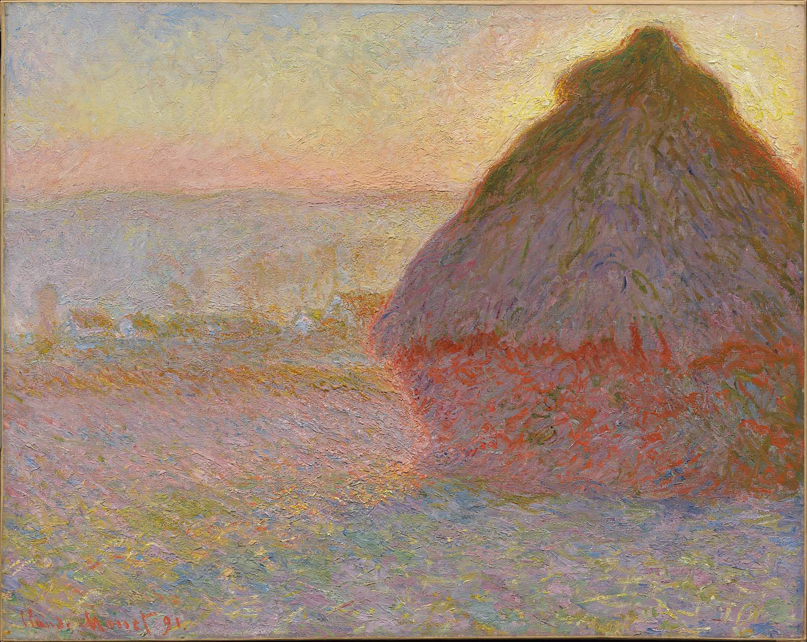 Monet - Grainstack at Sunset 1890. In 1890 and 1891, Monet painted a group  of pictures of the stacks of wheat - art-monet.com